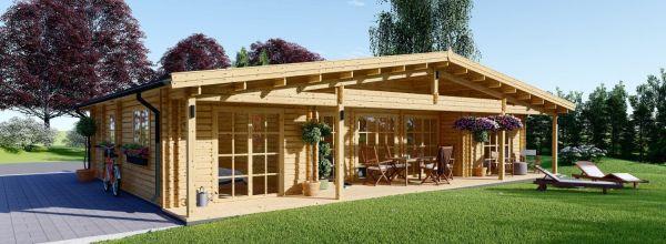 Chalet en bois RIVIERA (66 mm), 100 m² + 20 m² terrasse