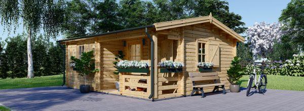 Abri de jardin en bois avec terrasse NANTES (44 mm), 6x4.7 m, 24 m² + 3.5 m²