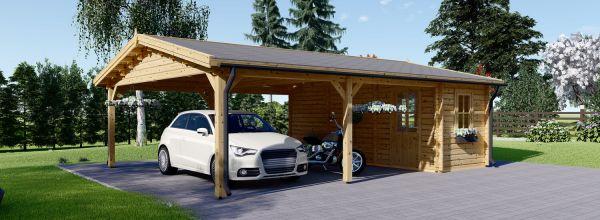 Carport en bois double avec abri, 6x7.5 m, 45 m²