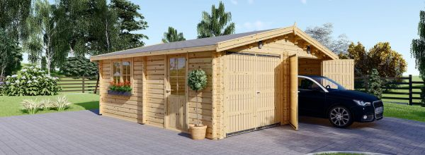 Garage en bois double (44 mm), 6x6 m, 36 m²