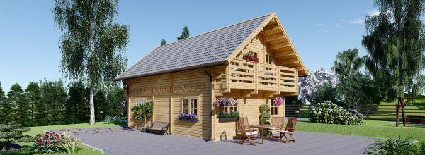 Chalet en bois LANGON (Isolé RT2012, 44+44 mm), 95 m²
