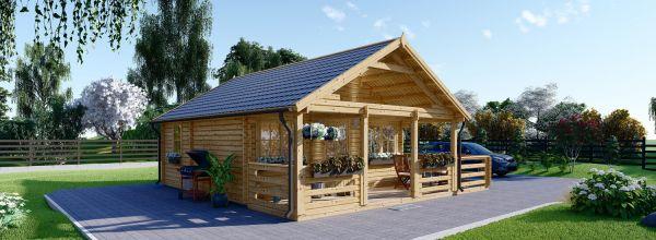 Chalet en bois avec terrasse ANGERS (Isolé RT2012, 44+44 mm), 36 m² + 19 m²