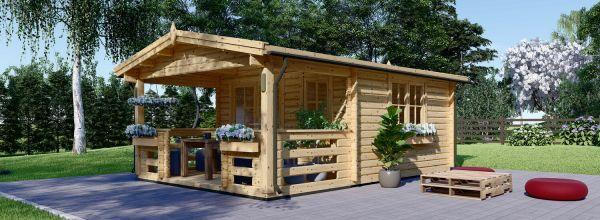 Abri de jardin en bois SHANON (66 mm), 16 m² + 6 m² terrasse