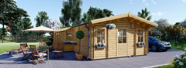 Chalet en bois habitable DIJON (44+44 mm, RT2012), 44 m²