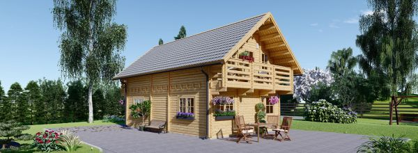 Chalet en bois LANGON (44+44 mm), 95 m²