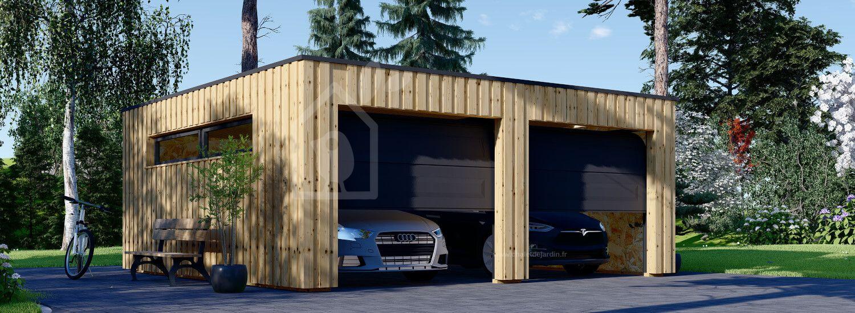 Garage en bois double à toit plat STELA DUO F (ossature en bois), 6x6 m, 36 m² visualization 1