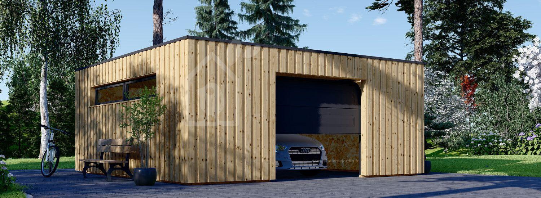 Garage bois toit plat STELA F (ossature en bois), 6x6 m, 36 m² visualization 1