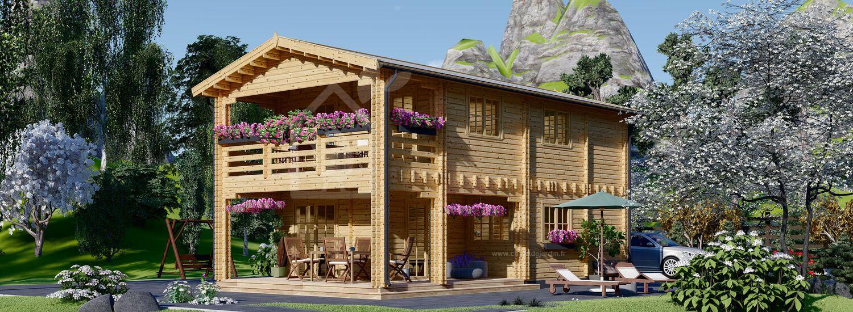 Chalet en bois TOULOUSE (66 mm), 100 m² + 20 m² terrasse visualization 1