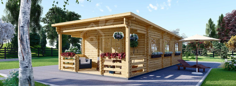 Chalet en bois à toit plat avec terrasse HYMER (44+44 mm), 42 m² + 10 m² visualization 1