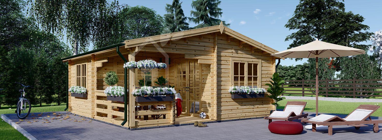 Abri de jardin en bois avec terrasse OLIVIA (44 mm), 6x6 m, 27 m² + 8 m² visualization 1