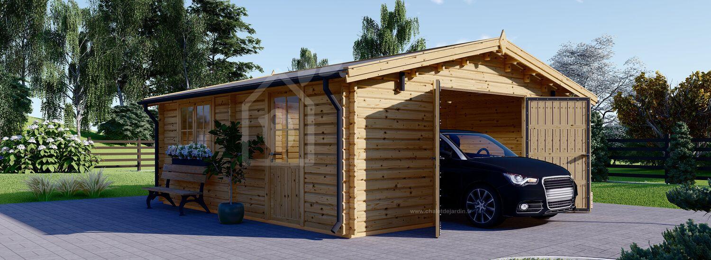 Garage en bois (44 mm), 6x6 m, 36 m² visualization 1