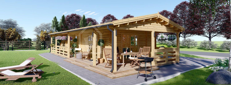 Chalet en bois avec terrasse TOSCANA (44+44 mm), 53 m² + 29 m² terrasse visualization 1