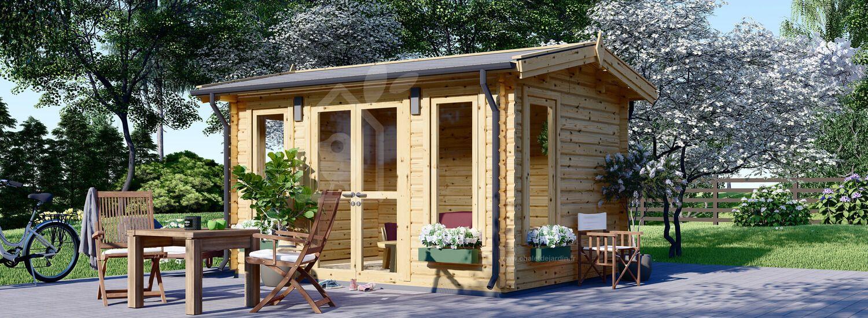 Abri de jardin en bois POOLHOUSE (44 mm), 4x3 m, 12 m² visualization 1