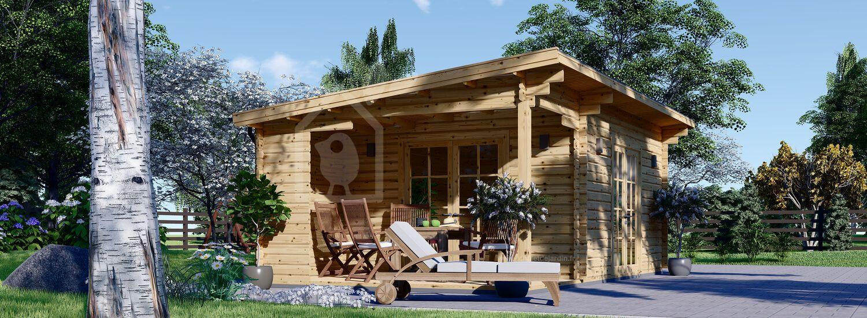 Abri de jardin en bois avec terrasse CARL (34 mm), 5x4 m, 20 m² + 8 m² visualization 1