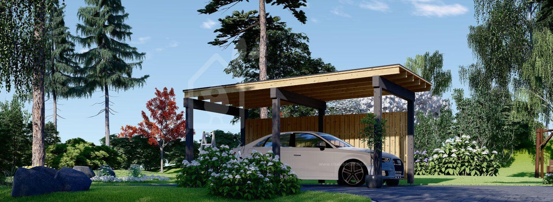 Carport en bois LUNA F, 3.2x6 m, avec mur latéral visualization 1
