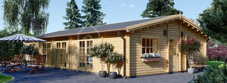 Chalet en bois habitable JULIA (Isolé RT2012, 44+44 mm), 103 m² visualization 1