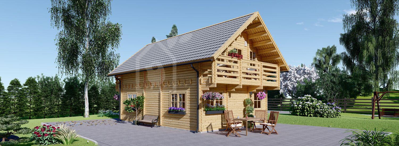 Chalet en bois 2 étages LANGON (66 mm), 95 m² visualization 1