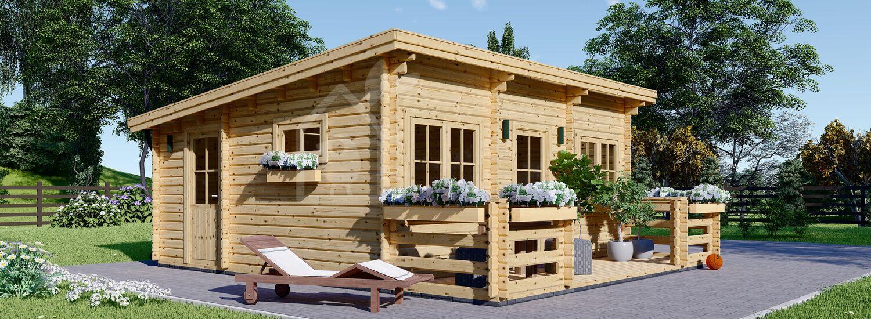 Chalet en bois habitable avec terrasse ALTURA à toit plat (Isolé RT2012, 44+44 mm), 31m² + 8 m² visualization 1