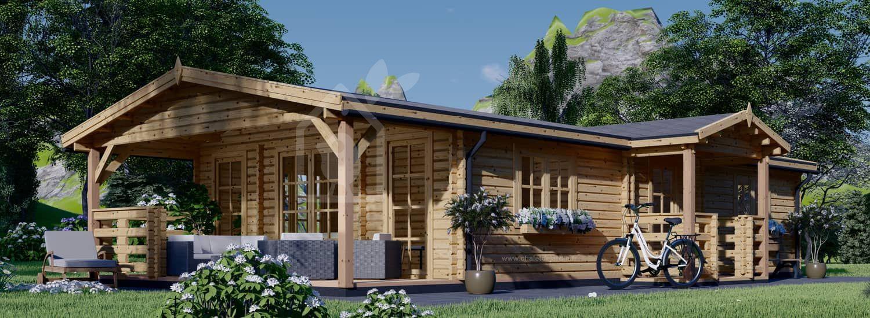 Chalet en bois avec terrasse DONNA (44+44 mm), 63 m² + 11.5 m² visualization 1