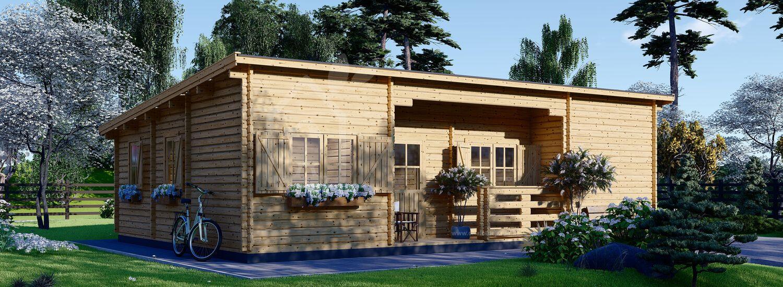 Chalet en bois à toit plat UZES F (66 mm) 70 m² visualization 1