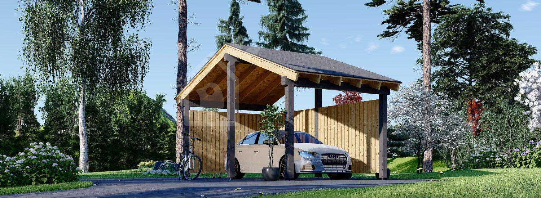Carport en bois LUNA, 3.2x6 m, avec mur en forme de L visualization 1