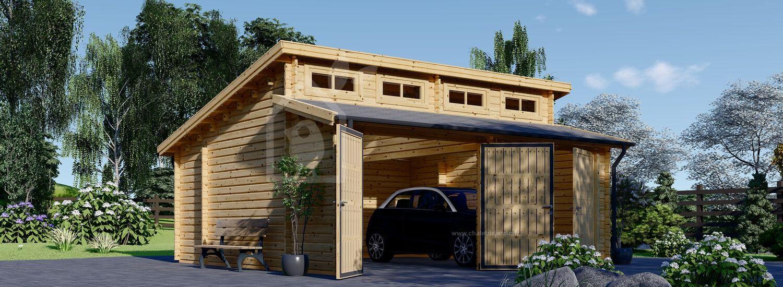 Garage en bois double TWIN (44 mm), 6x6 m, 36 m² visualization 1