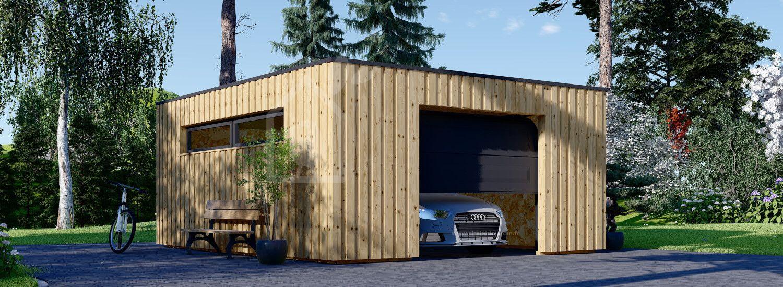 Garage bois toit plat STELA F (ossature en bois), 5x6 m, 30 m² visualization 1