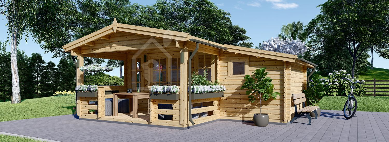 Abri de jardin en bois avec terrasse ISLA (66 mm), 6x5 m, 18 m² + 7 m² visualization 1
