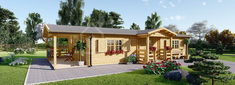 Chalet en bois habitable avec terrasse DONNA (Isolé RT2012, 44+44 mm), 63 m² + 11.5 m² visualization 1