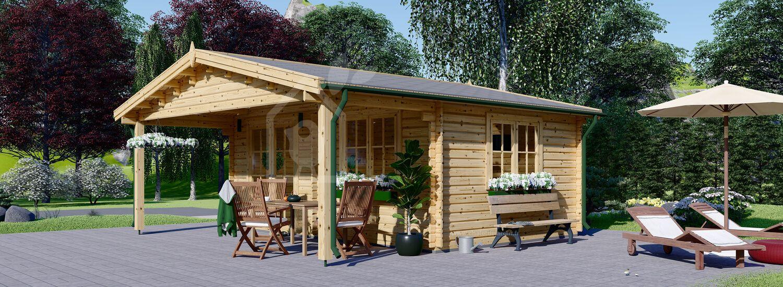 Abri de jardin en bois avec auvent CAMILA (Isolé, 44+44 mm), 6x6 m, 36 m² visualization 1