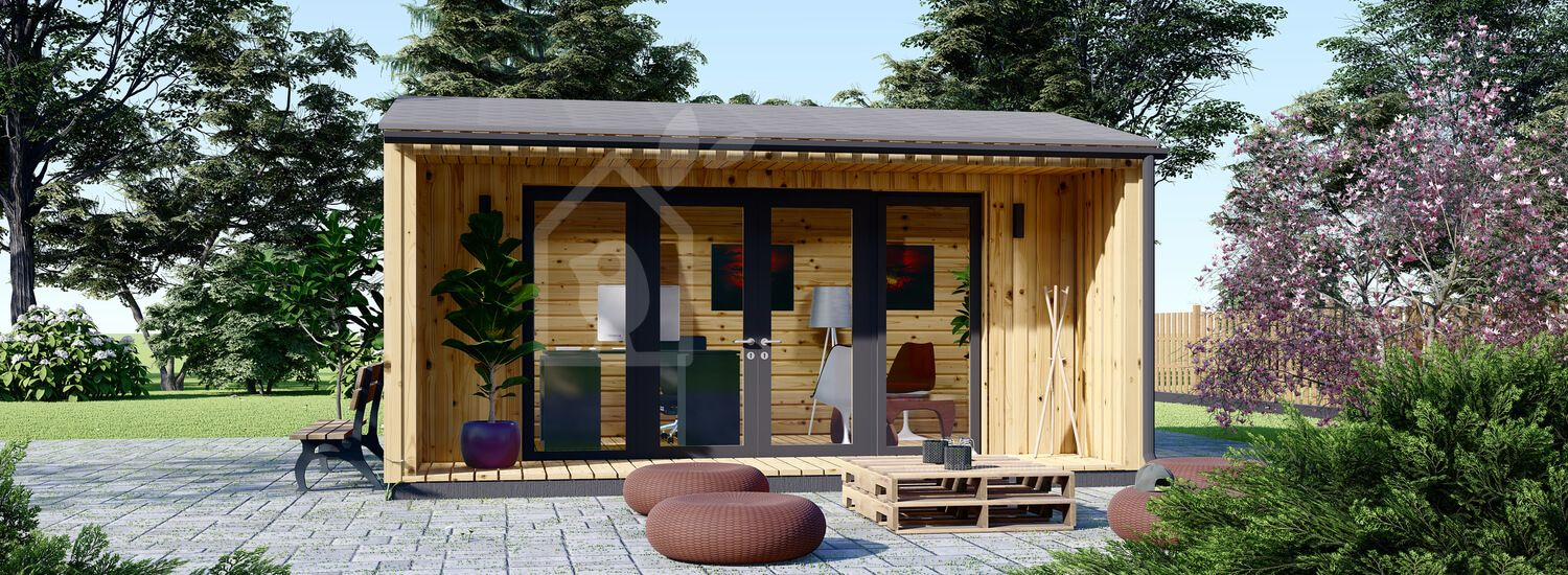 Bureau de jardin TINA (44 mm + bardage), 5.5x5 m, 22 m² visualization 1