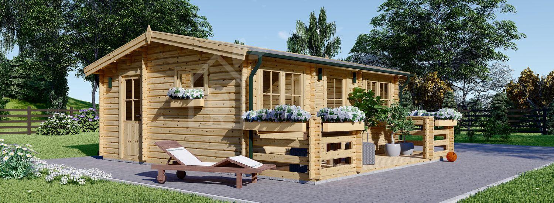 Chalet en bois avec terrasse ALTURA (Isolé RT2012, 44+44 mm), 31 m² + 8 m² visualization 1