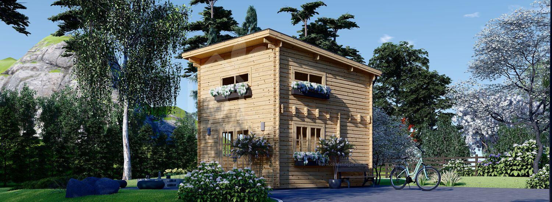 Chalet en bois avec étage AVIGNON à toit plat (58 mm), 19.9 m² + 16 m² visualization 1