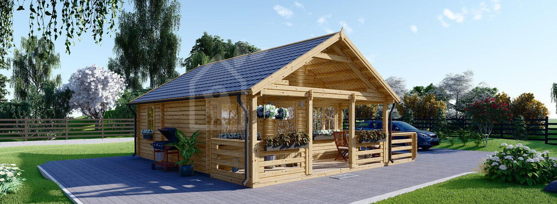 Chalet en bois avec terrasse ANGERS (Isolé RT2012, 44+44 mm), 36 m² + 19 m² visualization 1
