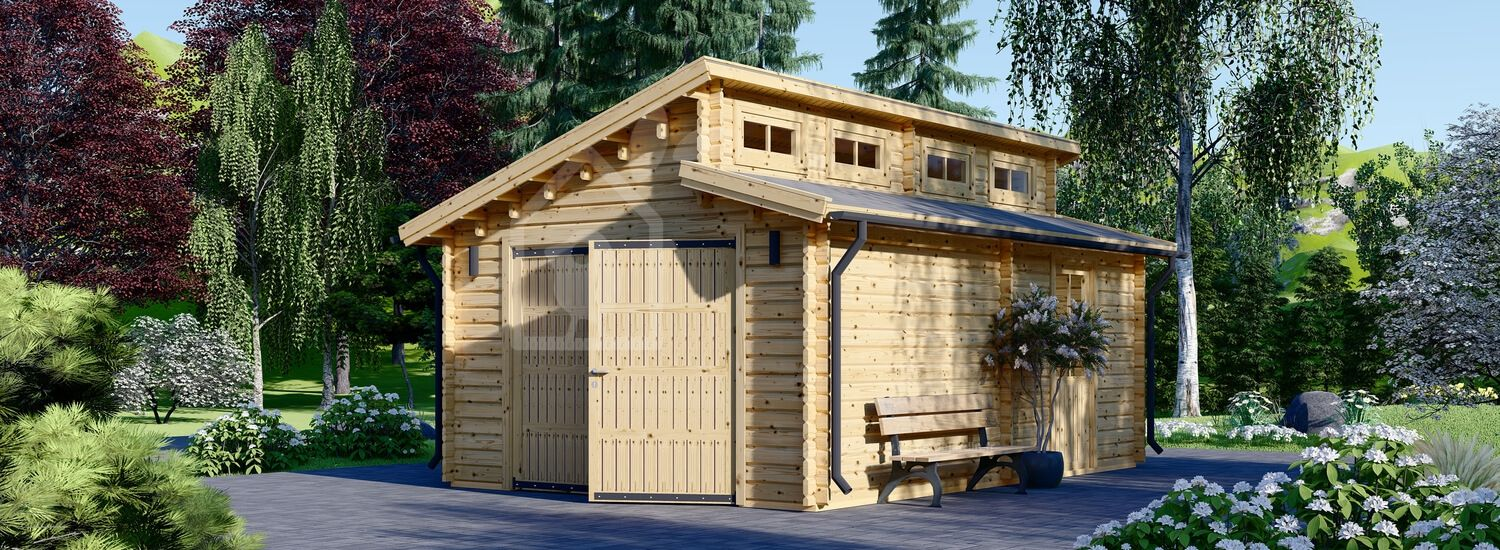 Garage en bois TWIN (44 mm), 4x6 m, 24 m² visualization 1