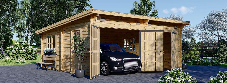 Garage en bois double à toit plat MODERN (44 mm), 6x6 m, 36 m² visualization 1