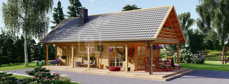 Chalet en bois habitable avec terasse AURA (Isolé RT2012, 44+44 mm), 100 m² + 35 m² visualization 1