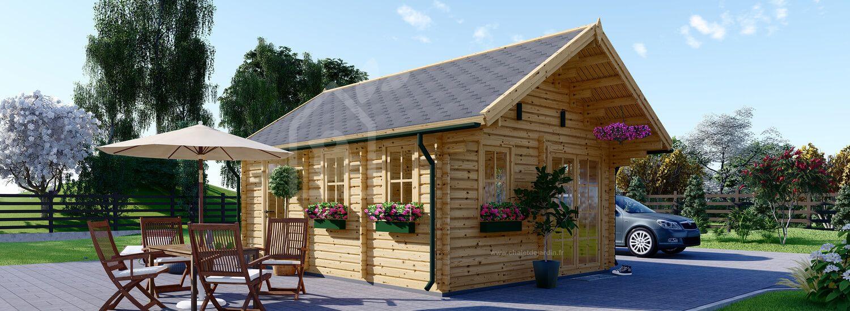 Chalet en bois avec mezzanine SCOOT (44 mm), 27 m² + 9 m² visualization 1