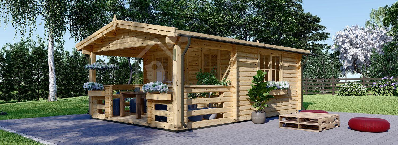 Abri de jardin en bois SHANON (66 mm), 16 m² + 6 m² terrasse visualization 1