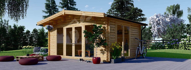 Abri de jardin en bois MARTA (Isolé RT2012, 44+44 mm), 5x4 m, 20 m² visualization 1