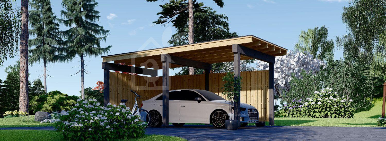 Carport en bois LUNA F, 3.2x6 m, avec mur en forme de L visualization 1
