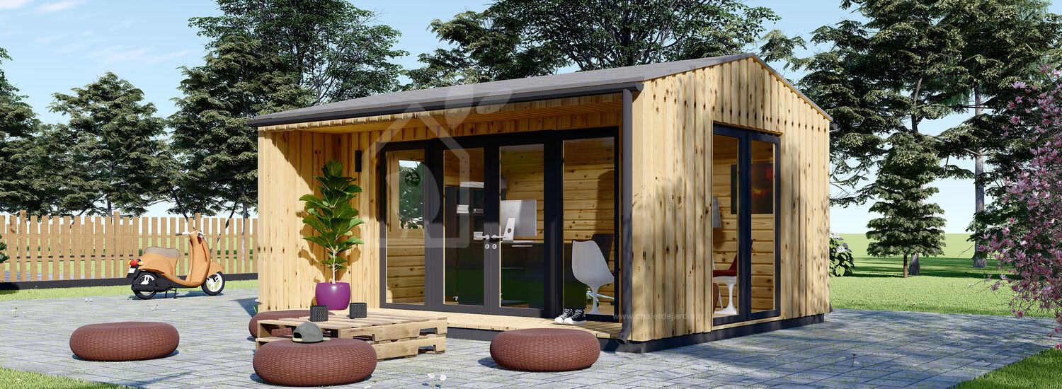 Bureau de jardin TINA (44 mm + bardage), 5x4 m, 15 m² visualization 1