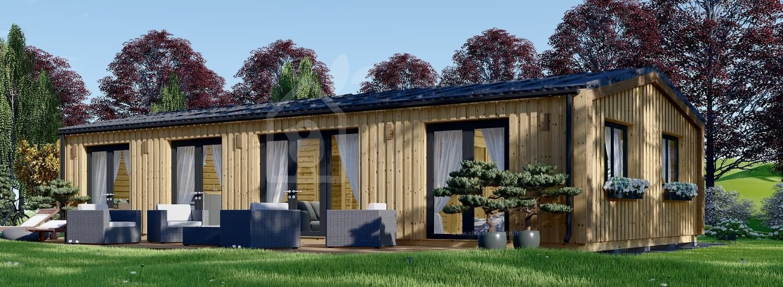 Chalet en bois habitable NICOLE (Isolé RT2012, 44 mm + bardage), 78 m² visualization 1