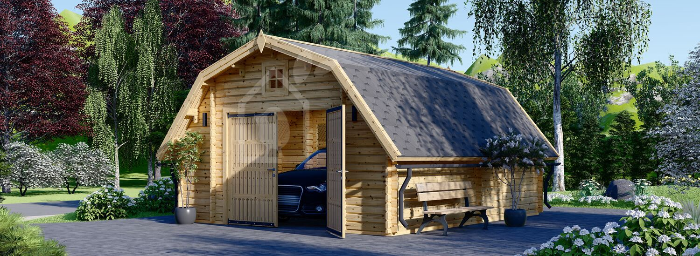 Garage en bois BARN (44 mm), 5x6 m, 30 m² visualization 1