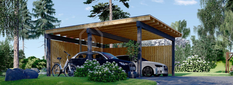 Carport en bois double LUNA DUO F, 6x6 m, avec mur en forme de L visualization 1