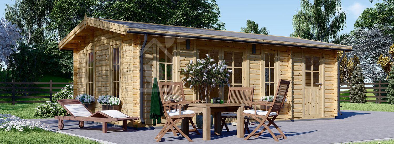 Abri de jardin en bois avec appenti LEA (44 mm), 7x4 m, 28 m² visualization 1