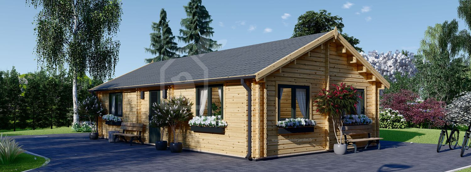 Chalet en bois GRETA (44 mm), 54 m² visualization 1
