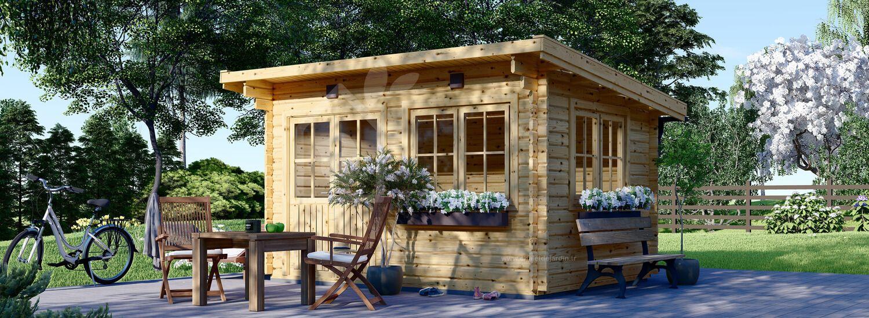 Abri de jardin en bois LILLE à toit plat (34 mm), 4x3 m, 12 m² visualization 1