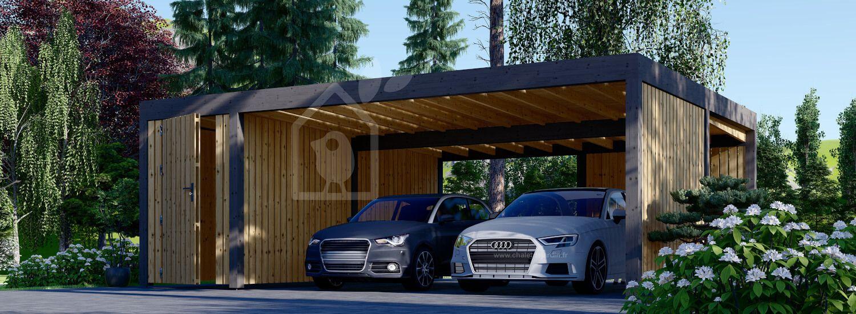 Carport en bois double avec abri et mur latéral LUNA DUO F PLUS, 7.6x5.6 m visualization 1