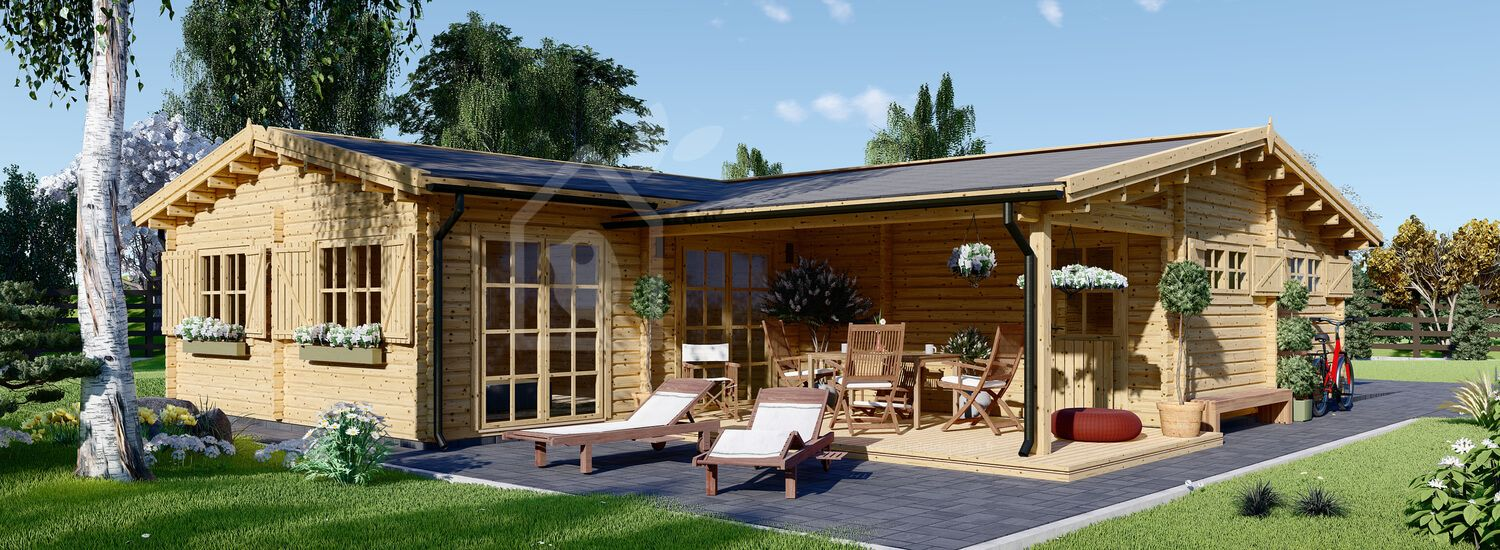Chalet en bois BERTA (44+44 mm, RT2012), 72 m² avec terrasse + 20 m² garage visualization 1